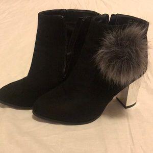 Olivia Miller 'Belmont' Faux Fur Pom Ankle Booties